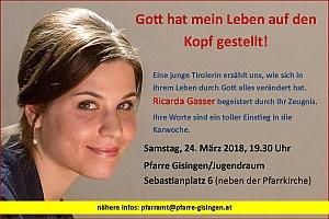 Permalink to:Sa. 24. März: Ricarda Gasser – Glaubenszeugnis